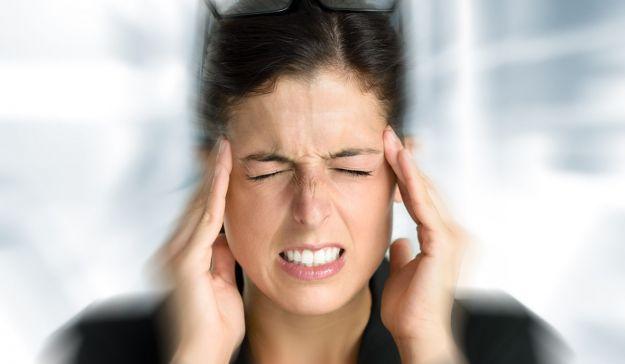 Business woman stress and headache