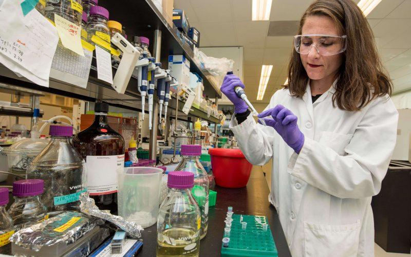 Una ricercatrice scientifica nel suo laboratorio